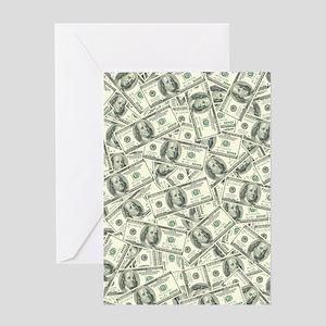 hundred dollar bill greeting cards cafepress