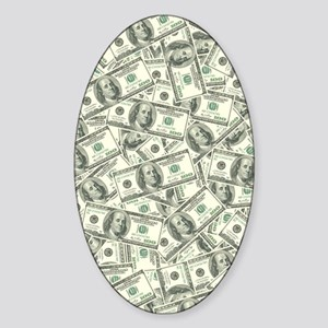 100 Dollar Bill Money Pattern Sticker (Oval)