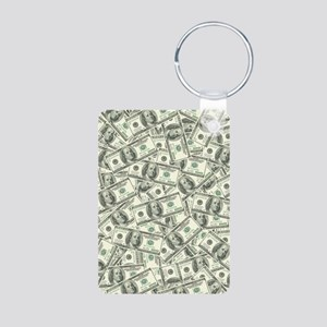 100 Dollar Bill Money Patt Aluminum Photo Keychain