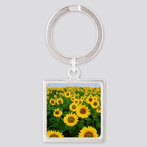 Sunflowers Square Keychain