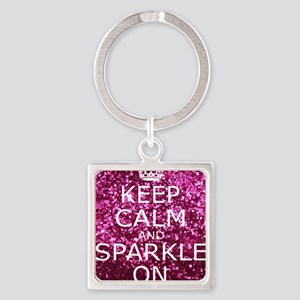 Keep Calm and Sparkle On Square Keychain