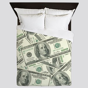 100 Dollar Bill Money Pattern Queen Duvet