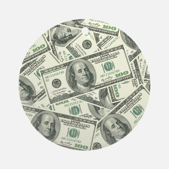 100 Dollar Bill Money Pattern Round Ornament