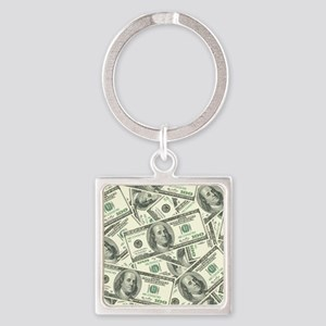 100 Dollar Bill Money Pattern Square Keychain