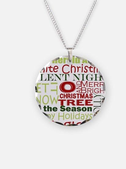 Christmas Subway Art Necklace Circle Charm