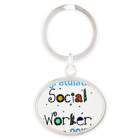 social worker grad congrats Oval Keychain