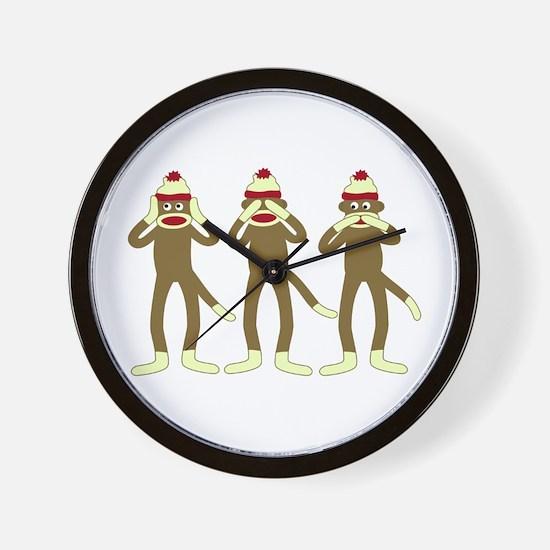 Hear, See, Speak No Evil Sock Monkeys Wall Clock
