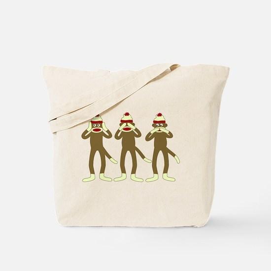 Hear, See, Speak No Evil Sock Monkeys Tote Bag