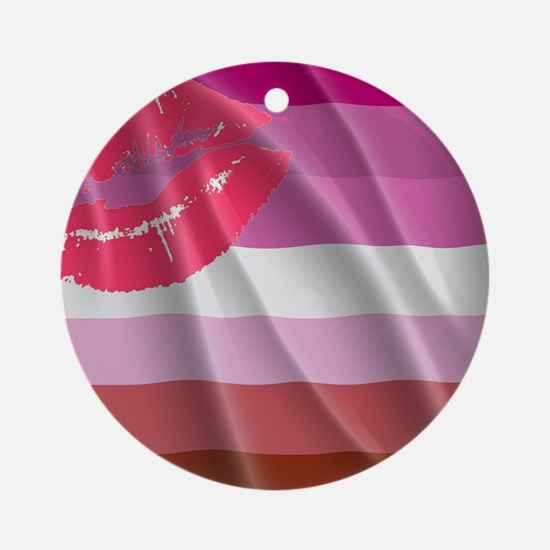 LESBIAN PRIDE FLAG Round Ornament