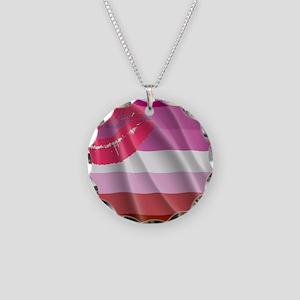 LESBIAN PRIDE FLAG Necklace Circle Charm