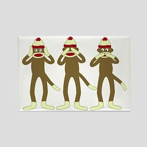 Hear, See, Speak No Evil Sock Monkeys Magnet