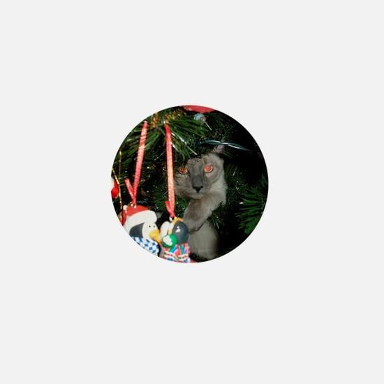 Siamese cat in Christmas Tree Mini Button
