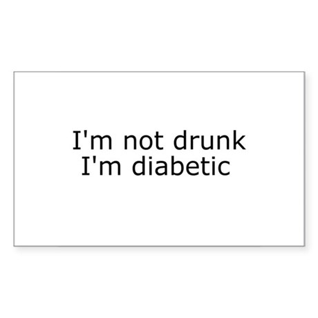 Diabetic Info Rectangle Sticker