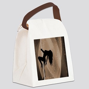 Pole Dancing Strippers - Brown Canvas Lunch Bag