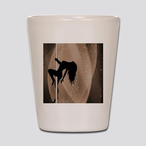 Pole Dancing Strippers - Brown Shot Glass
