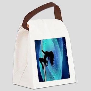 Stripper Silhouette - Blue Canvas Lunch Bag