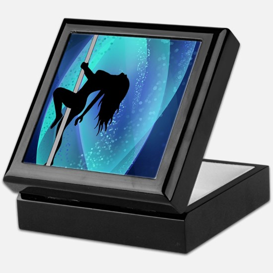 Stripper Silhouette - Blue Keepsake Box