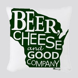 Beer, Chees & Good Company in  Woven Throw Pillow
