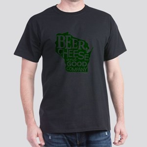 Beer, Chees & Good Company in Green Dark T-Shirt