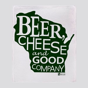 Beer, Chees & Good Company in Green Throw Blanket