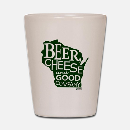 Beer, Chees & Good Company in Green Shot Glass