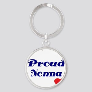 Proud Nonna with hearts Round Keychain