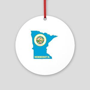 Minnesota State Flag Map Round Ornament