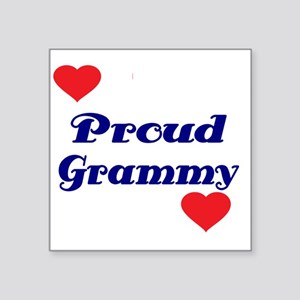 "Proud Grammy  with hearts Square Sticker 3"" x 3"""