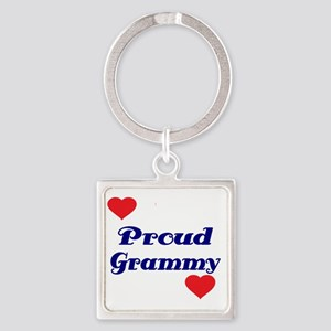 Proud Grammy  with hearts Square Keychain