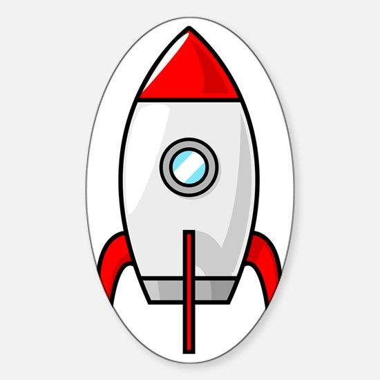 red and white rocket Sticker (Oval)