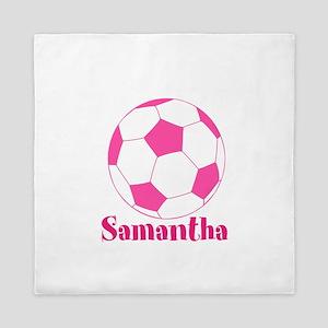 Pink Soccer Ball Queen Duvet