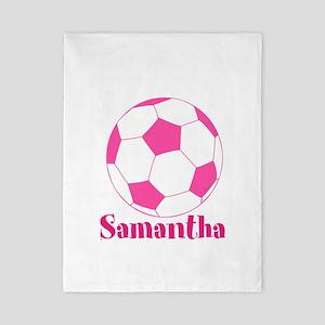 Pink Soccer Ball Twin Duvet