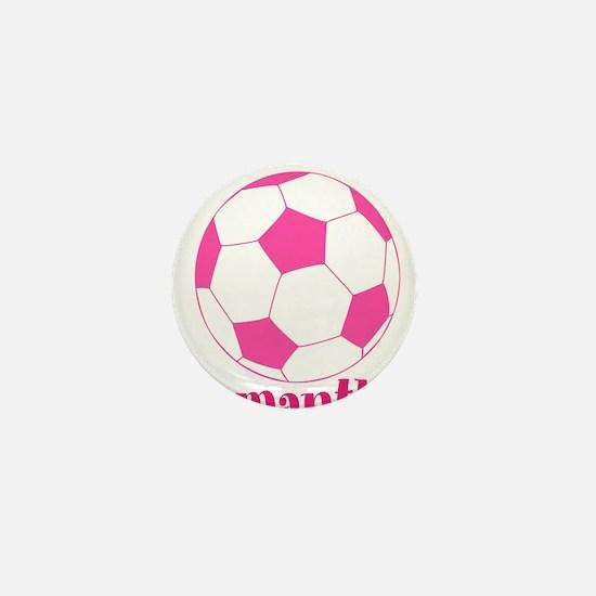 Pink Soccer Ball Mini Button