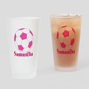 Pink Soccer Ball Drinking Glass