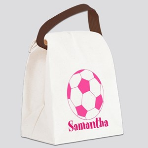 Pink Soccer Ball Canvas Lunch Bag