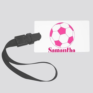 Pink Soccer Ball Luggage Tag