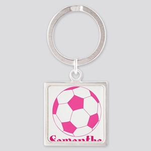 Pink Soccer Ball Keychains