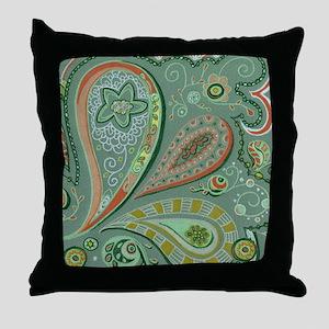 White Lace Paisley Throw Pillow