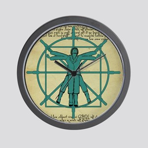 Vitruvian Man at the Wheel Wall Clock