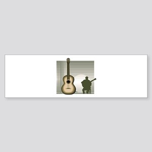 acoustic guitar player sitting brown Bumper Sticke