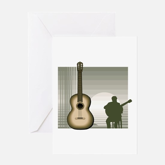 acoustic guitar player sitting brown Greeting Card