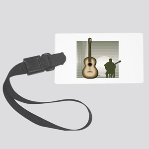 acoustic guitar player sitting brown Luggage Tag