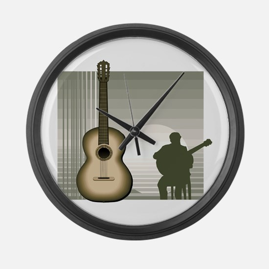 acoustic guitar player sitting brown Large Wall Cl
