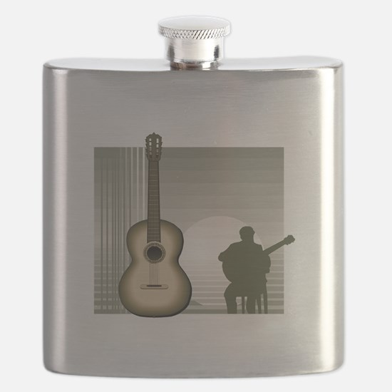 acoustic guitar player sitting brown Flask