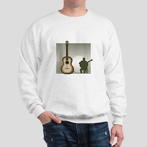 acoustic guitar player sitting brown Sweatshirt