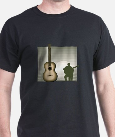 acoustic guitar player sitting brown T-Shirt