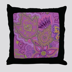 Purple Maple Heart Throw Pillow