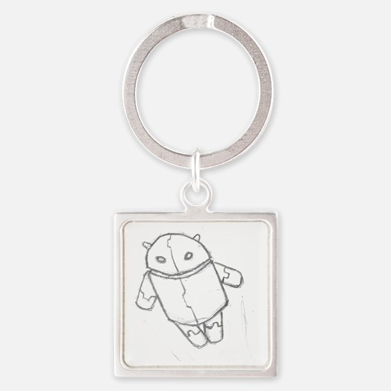 Android in flight Square Keychain