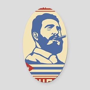 Castro Cuba comunist vintage propa Oval Car Magnet