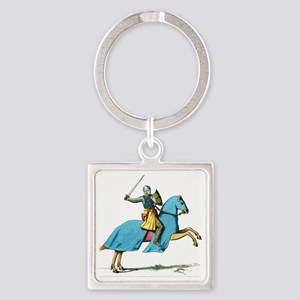 Armored Knight on Cloaked Horse Square Keychain